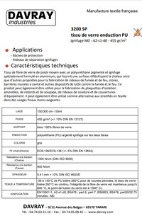 Document technique tissu ignifuge 3200SP